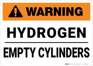 Warning: Hydrogen Empty Cylinders - Wall Sign