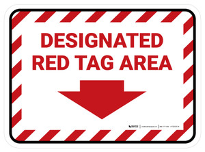 Designated Red Tag: Area with Down Arrow V2 Rectangle - Floor Sign