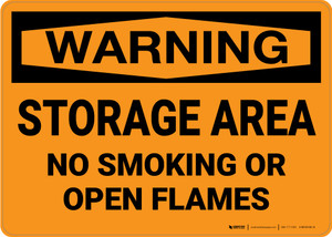 Warning: Storage Area No Smoking Open Flame - Wall Sign