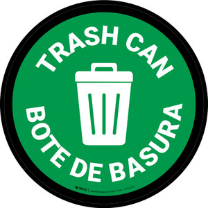 5S Trash Can Bilingual Circular - Floor Sign