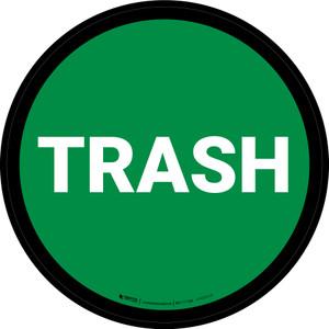 5S Trash Green Circular - Floor Sign