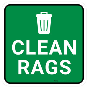 5S Clean Rags Square - Floor Sign