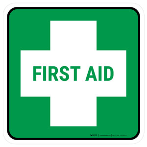 5S First Aid Square - Floor Sign