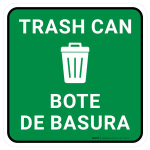 5S Trash Can Bilingual Square - Floor Sign