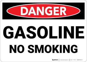 Danger: Gasoline No Smoking - Wall Sign