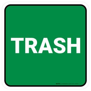 5S Trash Green Square - Floor Sign