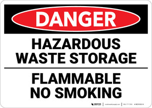 Danger: Hazardous Waste Storage Flammable No Smoking - Wall Sign