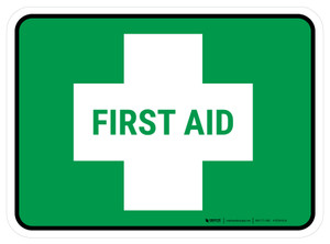 5S First Aid Rectangle - Floor Sign