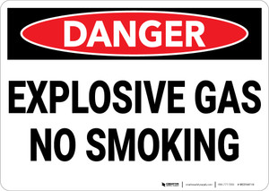 Danger: Explosive Gas No Smoking - Wall Sign