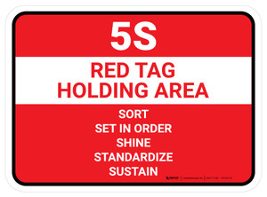 5S Red Tag Holding Area Rectangle - Floor Sign