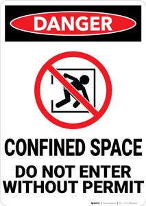 Danger: Confined Space Do Not Ener Without Permit - Wall Sign