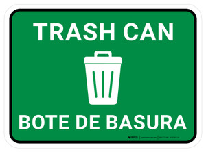 5S Trash Can Bilingual Rectangle - Floor Sign