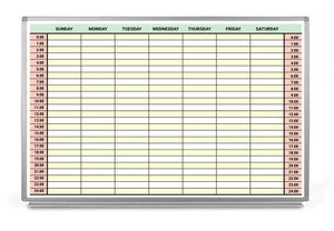 24 Hour Military Time With Color Scheduling Whiteboard