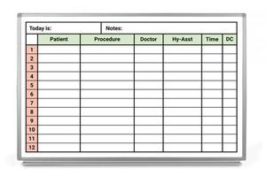 Dental Schedule Whiteboard