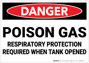 Danger: Poison Gas Respiratory Protection Required - Wall Sign