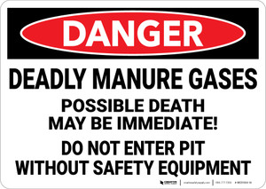 Danger: Deadly Manure Gases Do Not Enter Pit Without Equipment - Wall Sign