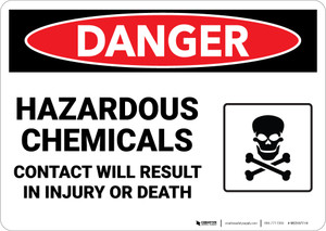 Danger: Hazardous Chemicals Contact Will Result in Injury or Death - Wall Sign