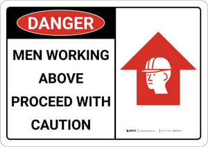 Danger: Men Working Above Proceed With Caution - Wall Sign
