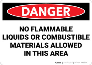Danger: No Flammable Liquids or Combustibles in This Area - Wall Sign