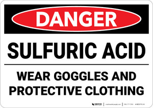 Danger: Sulfuric Acid Wear Goggles and Protective Clothing - Wall Sign
