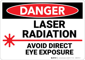 Danger: Laser Radiation Avoid Direct eye Exposure - Wall Sign