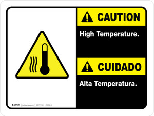 Caution: High Temperature Bilingual Landscape  - Wall Sign