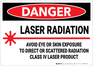 Danger: Laser Radiation Avoid Eye or Skin Exposure To Direct Laser - Wall Sign