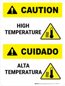 Caution: High Temperature Bilingual Portrait - Wall Sign