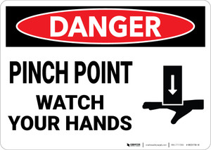 Danger: Pinch Point Watch Your Hands Warning - Wall Sign