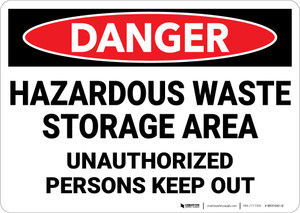 Danger: Hazardous Waste Storage Area Keep Out - Wall Sign