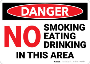 Danger: No Smoking Eating Drinking in This Area - Wall Sign
