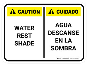 Caution: Portrait Water Rest Shade Bilingual Rectangular - Floor Sign