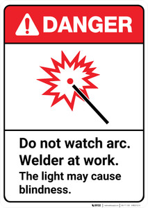 Danger: Do Not Watch Arc Welder At Work May Cause Blindness ANSI - Wall Sign