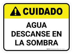 Caution: Water Rest Shade Spanish Rectangular - Floor Sign