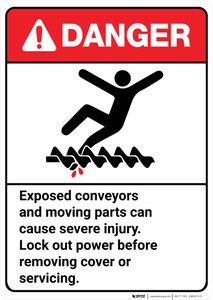 Danger: Exposed Conveyors Moving Parts Cause Injury ANSI - Wall Sign