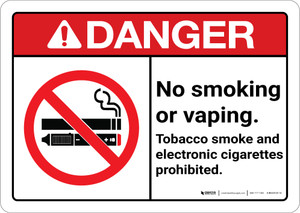 Danger: No Smoking Vaping Tobacco E Cigarette Prohibited ANSI - Wall Sign