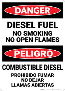 Danger: Diesel Fuel No Smoking Open Flames Bilingual Spanish - Wall Sign