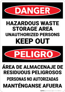 Danger: Hazardous Waste Keep Out Bilingual Spanish - Wall Sign