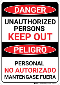 Danger: Unauthorized Persons Keep Out Bilingual Spanish - Wall Sign