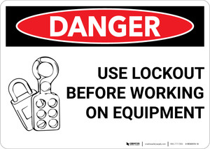 Danger: Lock Out Before Working on Equipment - Wall Sign