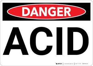 Danger: Acid Warning - Wall Sign