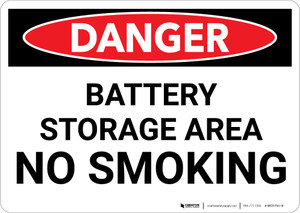 Danger: Battery Storage No Smoking - Wall Sign