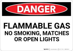 Danger: Flammable Gas No Smoking Matches Open Lights - Wall Sign