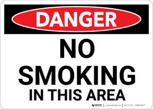 Danger: No Smoking In This Area - Wall Sign