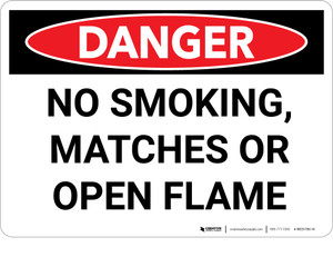 Danger: No Smoking Matches or Open Flame - Wall Sign