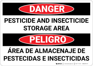 Danger: Pesticide Insecticide Storage Bilingual Spanish - Wall Sign