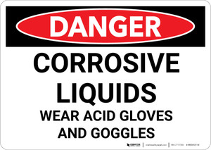 Danger: Corrosive Liquids Wear Gloves and Goggles - Wall Sign