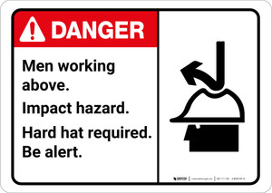 Danger: Men Working Above Hard Hat Required With Graphic - Wall Sign