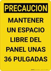 Caution: Keep Electrical Panel Clear Vertical Spanish - Wall Sign