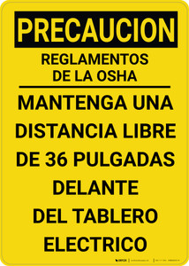 Caution: OSHA Electrical Panel Keep Clear Vertical Spanish - Wall Sign